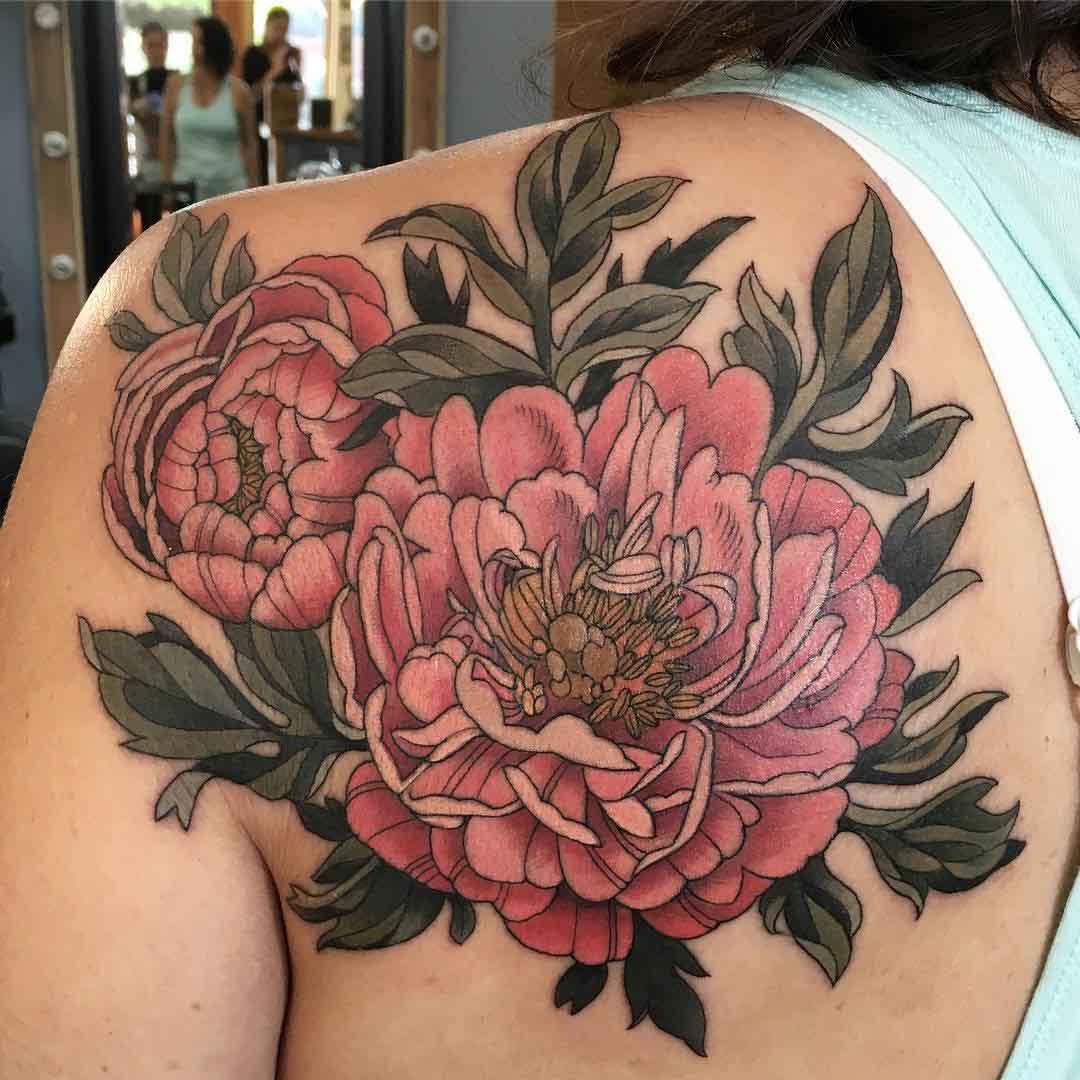 shoulder blade tattoo flowers of peony