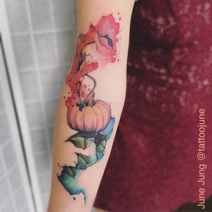 watercolor forearm tattoo poppy and pumpkin