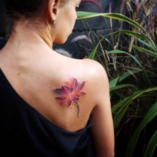 Purple Lotus Tattoo on Shoulder Blade