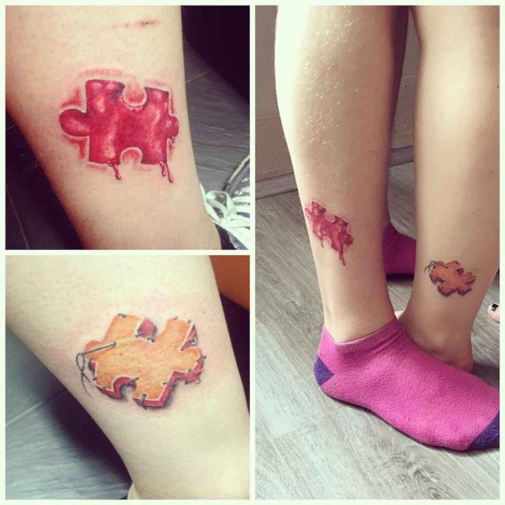 Ankle couple tattoos puzzle pieces