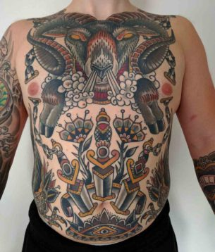 Ram and Neo-Traditional Tattoos Full Torso