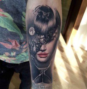 Realistic Girl Tattoo