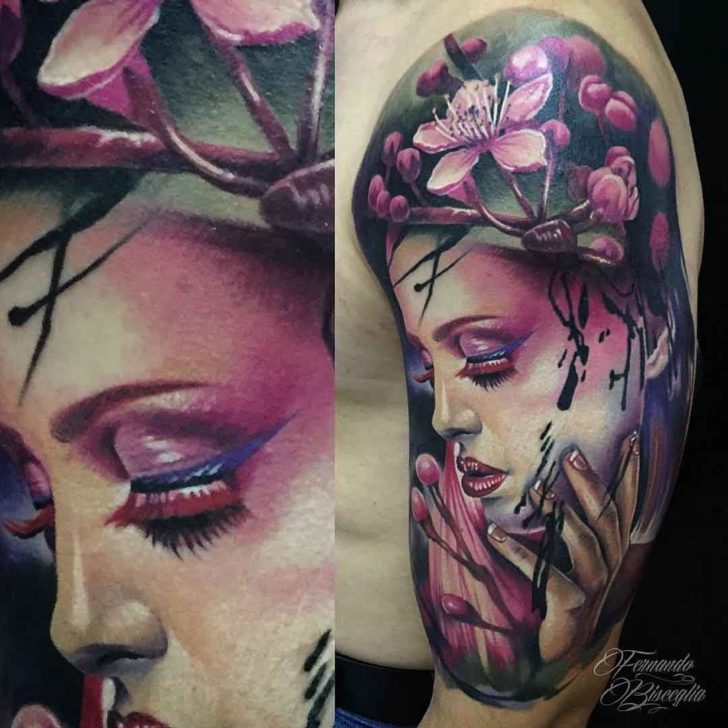 Realism Tattoo For Woman: Sakura Girl Tattoo Realism