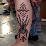 side calf tattoo tarantula geometry