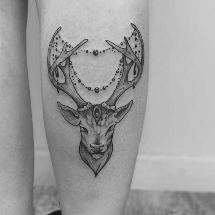 leg tattoo deer