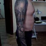cool picture tattoo sleeve black and grey