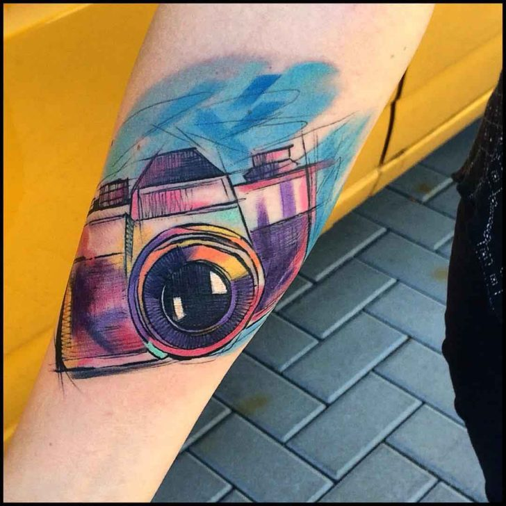 photo camera tattoo watercolour