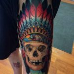 Thigh Tattoo Indian Skull