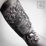 Tree House Tattoo on Bicep