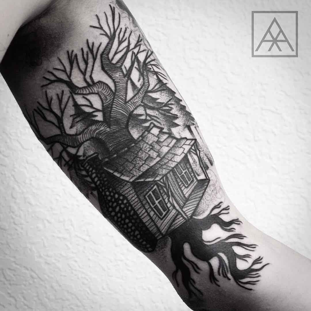 Bicep Tattoo house on tree