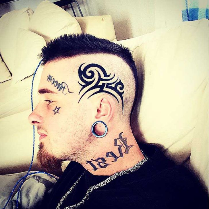head tattoo tribal