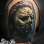 Ugly Zombie Face Tattoo on Shoulder