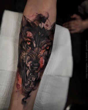 Very Evil Wolf Tattoo