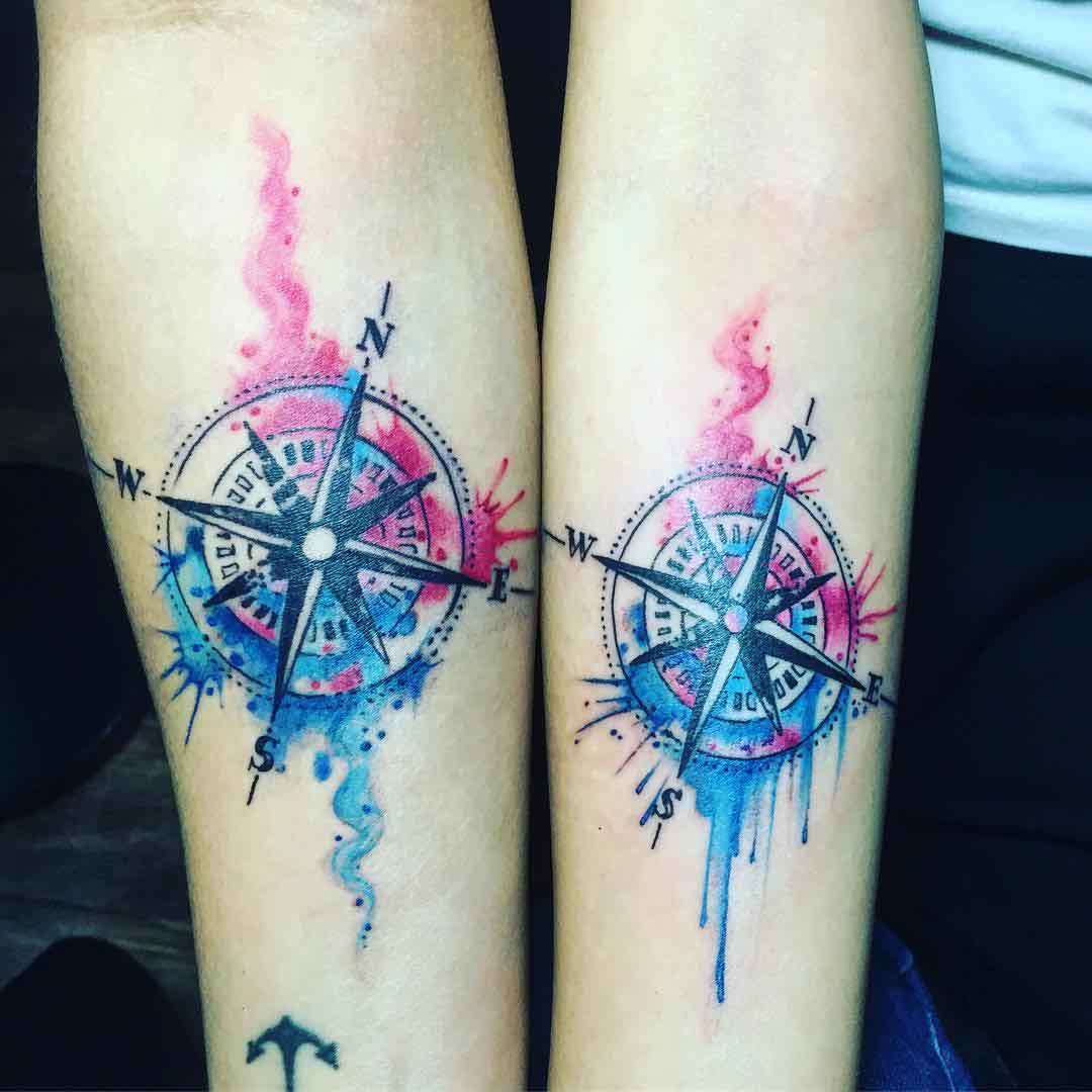 couple compass tattoos