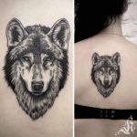 back tattoo wolf face