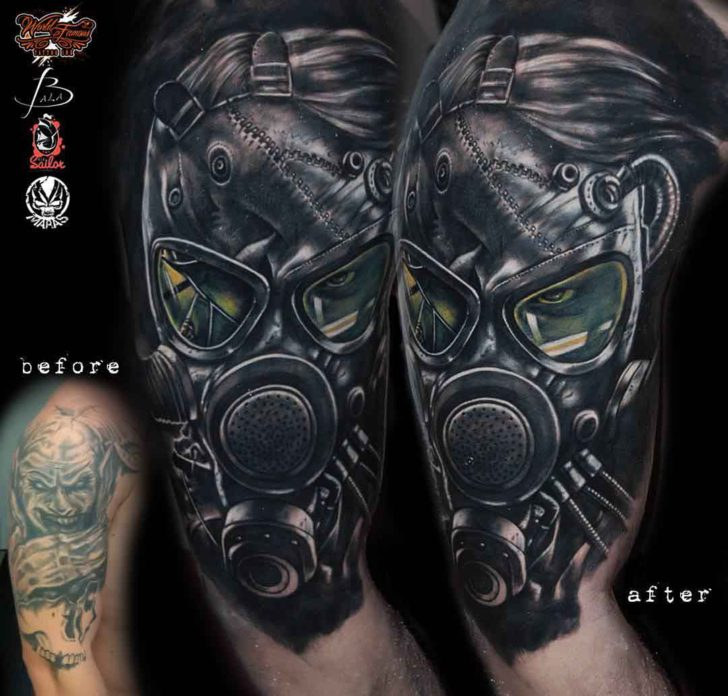 gas mask tattoo on shoulder cover up