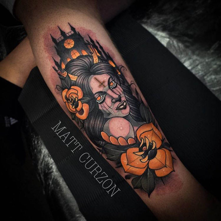 neo-traditional tattoo witch