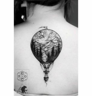 Air Balloon Tattoo on Back