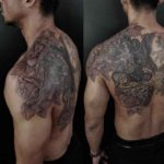 shoulder blade angels and roses tattoo