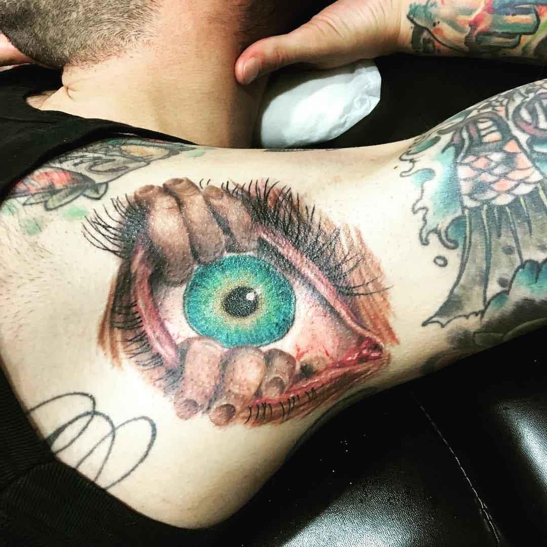 eye tattoo in armpit