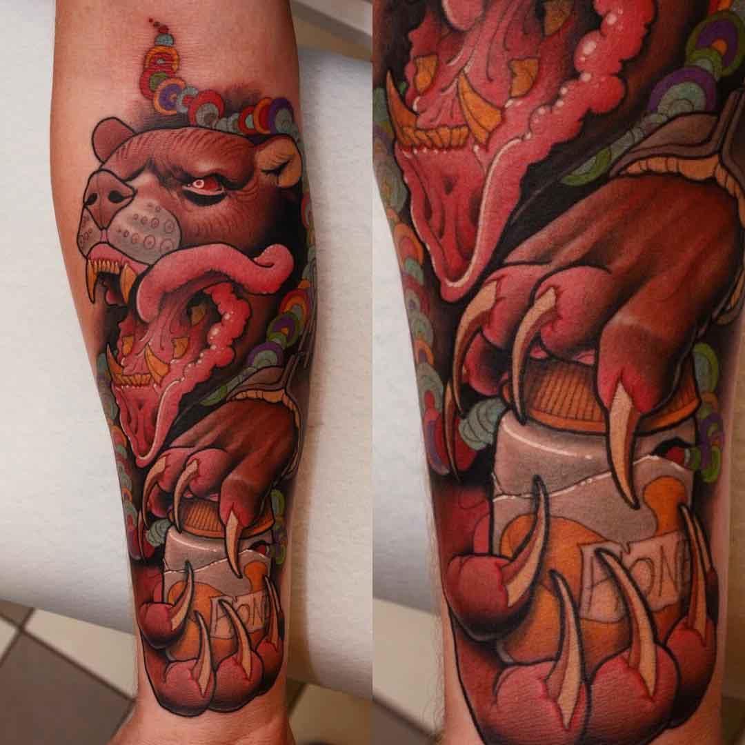 new school evil bear tattoo