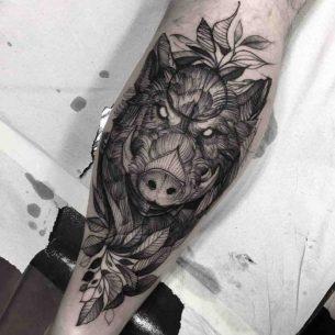 Calf Tattoo Boar