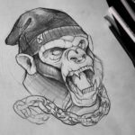 Chained Monkey Tattoo Design