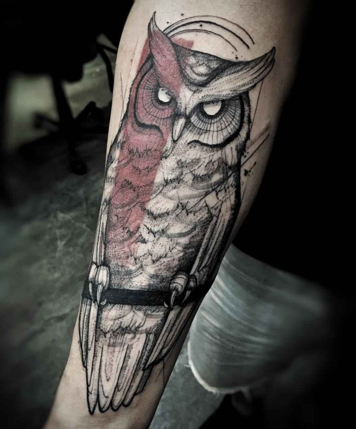forearm tattoo owl half red David Bowie tribute