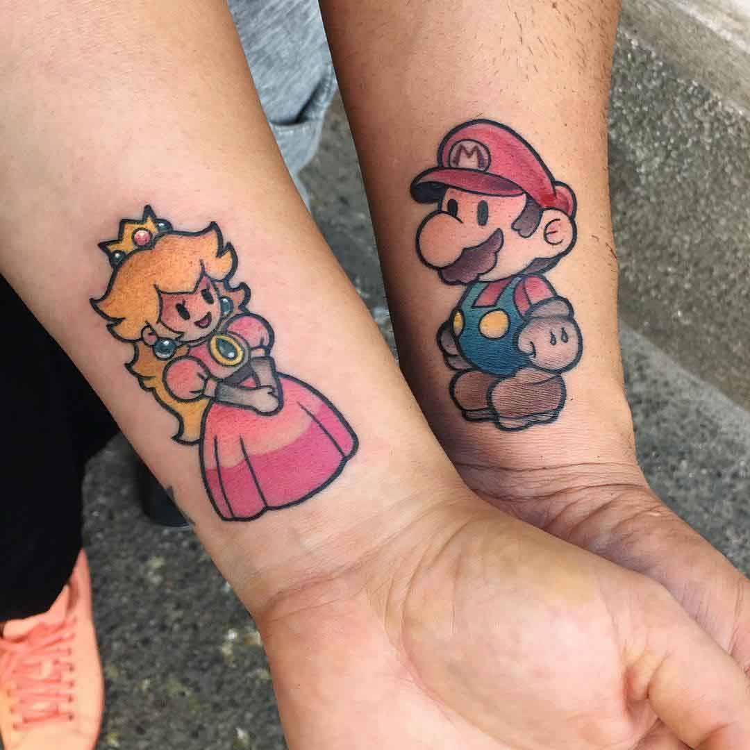 mario tattoo for couples princess peach