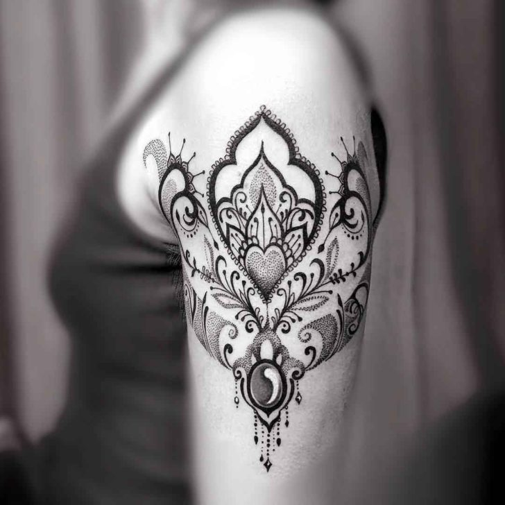 dotwork ornament tattoo on shoulder best tattoo ideas gallery. Black Bedroom Furniture Sets. Home Design Ideas