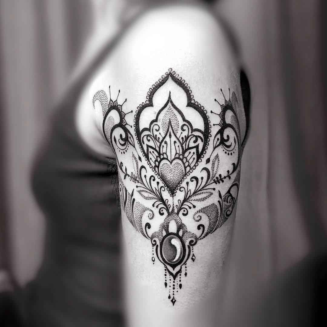 dotwork ornamental tattoo on shoulder for girls