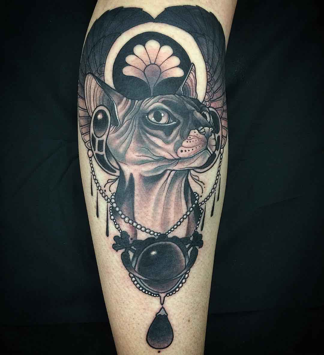 sphynx cat tattoo egypt with jewels