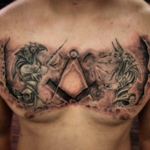 Egyptian Gods Tattoo on Chest