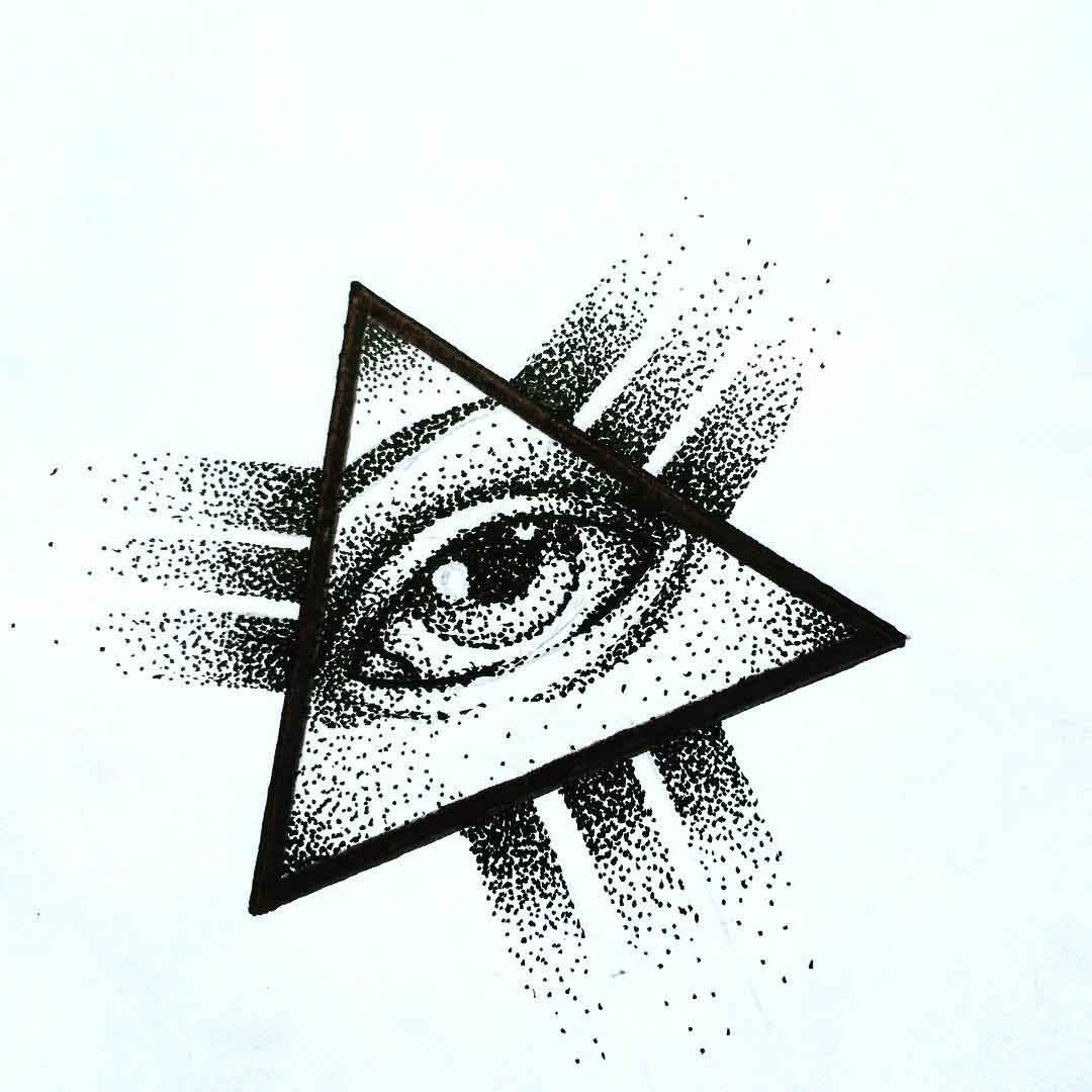 dotwork triangle eye of providence tattoo sketch
