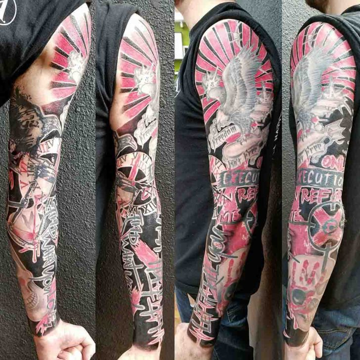 trash polka full sleeve tattoo
