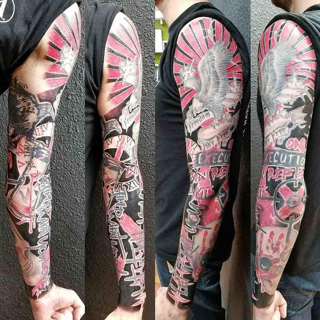 trash polka full sleeve tattoo