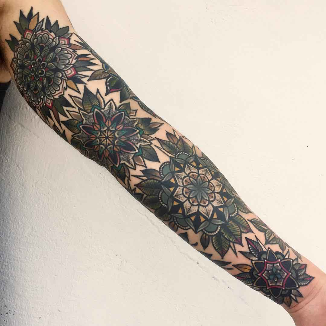 mandala tattoo sleeve full arm