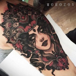 Girl Face Tattoo on Shoulder