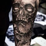 Grey Skull Tattoo Clockface
