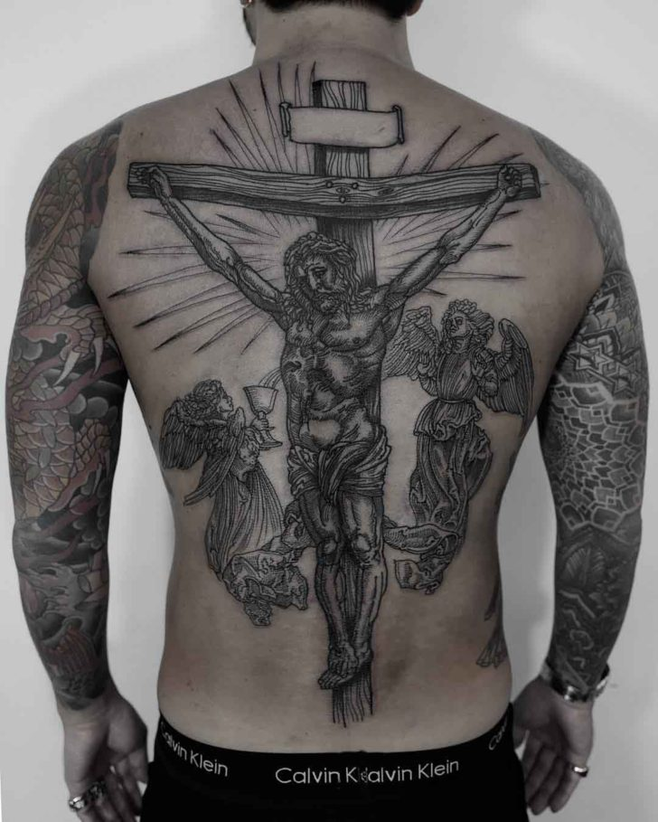 full back jesus tattoo crucified