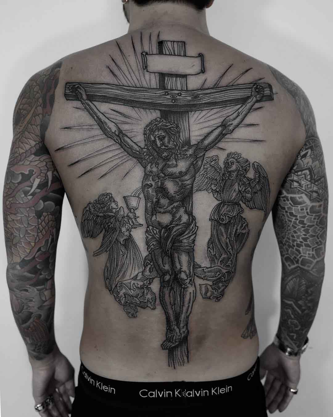 full back jesus tattoo crucified