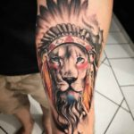chief lion tattoo Indian themed
