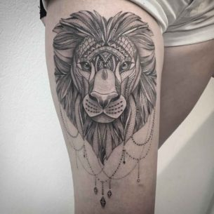 Lion Tattoo Girl