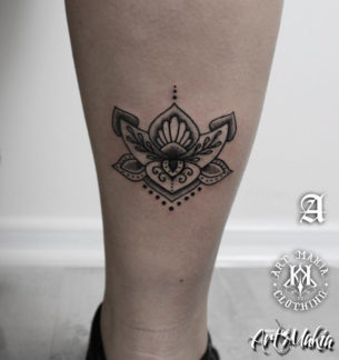 Lotus Leg Tattoo
