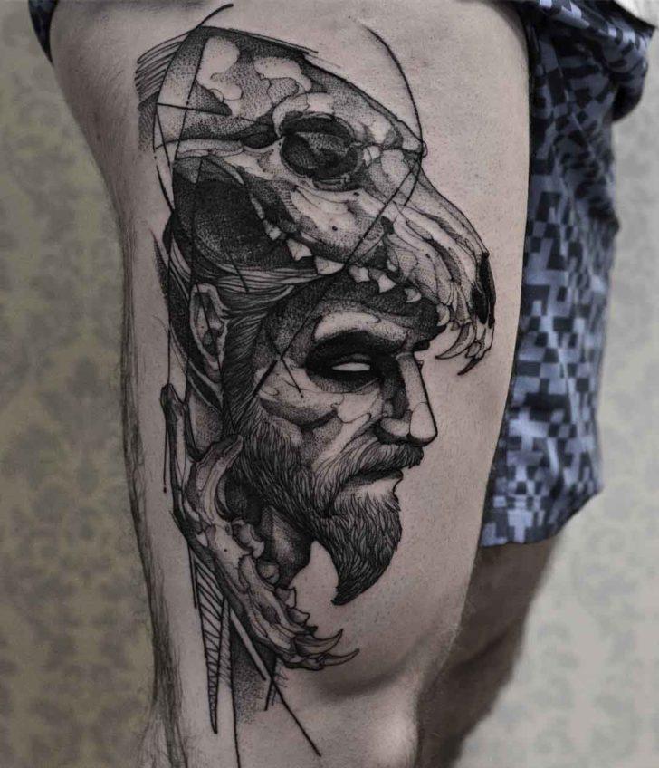 Man in Wolf Skull   Best Tattoo Ideas Gallery