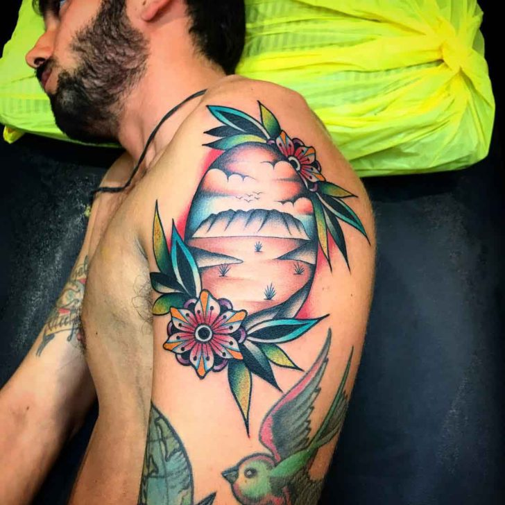 shoulder tattoo nautical seashore