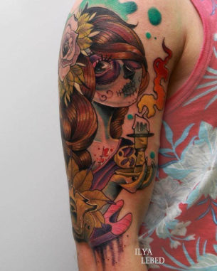 New School Santa Muerte Girl on Shoulder