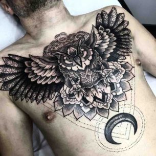 Owl and Moon Tattoo