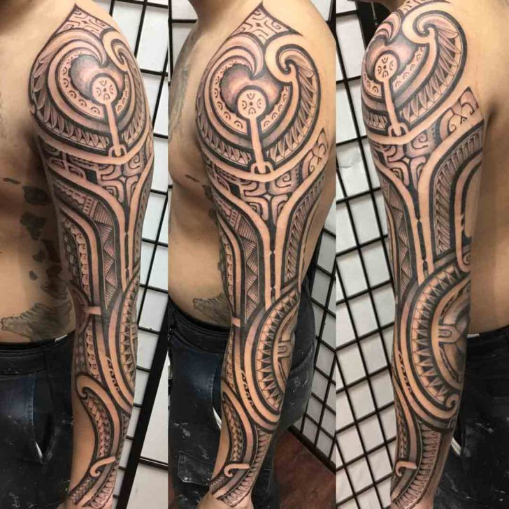 full sleeve tattoo polynesian