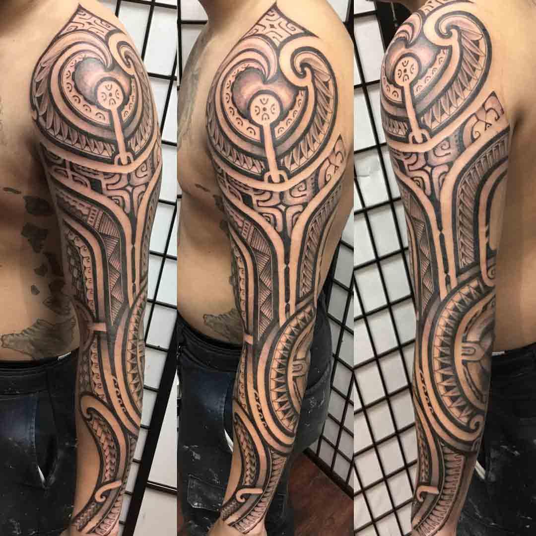 full sleeve tattoo polynesian